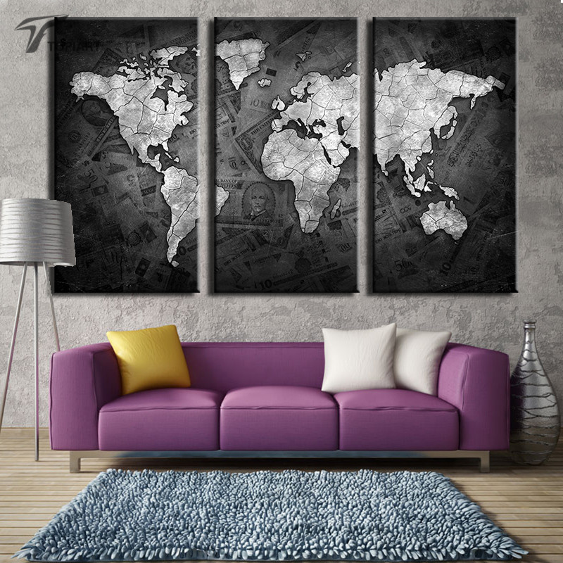 large art world map canvas black and metalic wall paintings global maps on money background modern home decor 3 piece no frame