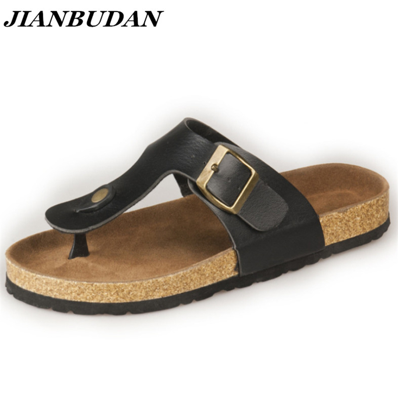 JIANBUDAN Summer sandals for Couple 2018 cork bottom Clip toe sandals High quality pu anti-slip woman Fashion sandals 35-43