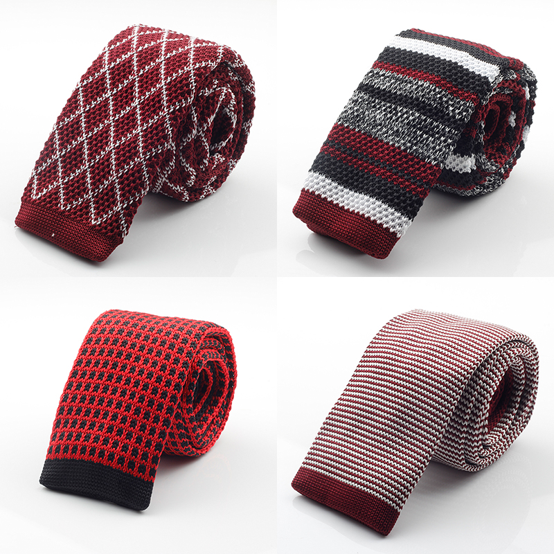 GUSLESON New Fashion Male Brand Slim Designer Mens Knitted Neck Ties Cravate Narrow Skinny Neckties For Men