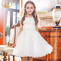 Nimble Summer Princess Girls Dress Satin Appliques Pearl Organza Dress for Girls Wedding Party Birthday
