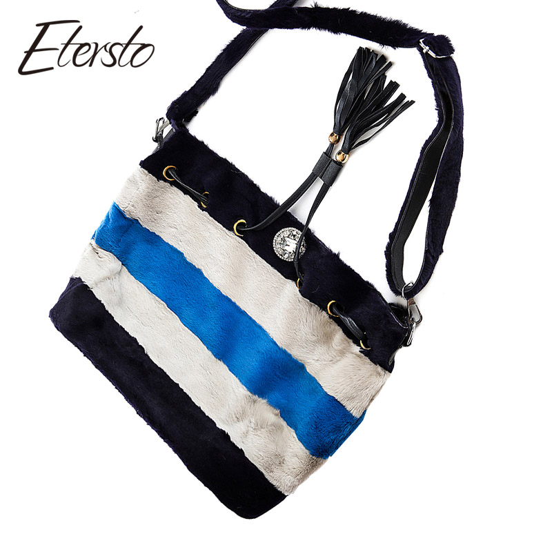 Etersto 2017 New Arrival Real Fur Bags Women Mink Fur Handbag High Qulity Fur Messenger Ladies Horizonal Luxry Crossbody Bags etersto 2017 new arrival women real mink fur handbag luxry real fur bag flap bags ladies crossbody bags female bags for lady