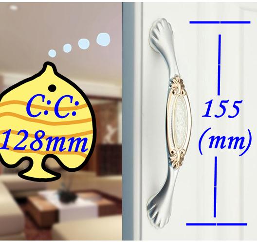 """C: C: 128mm 5.04 """"de Comprimento 155mm 6.10"""" Branco de Cristal de luxo mobiliário gaveta do armário punho puxa"""