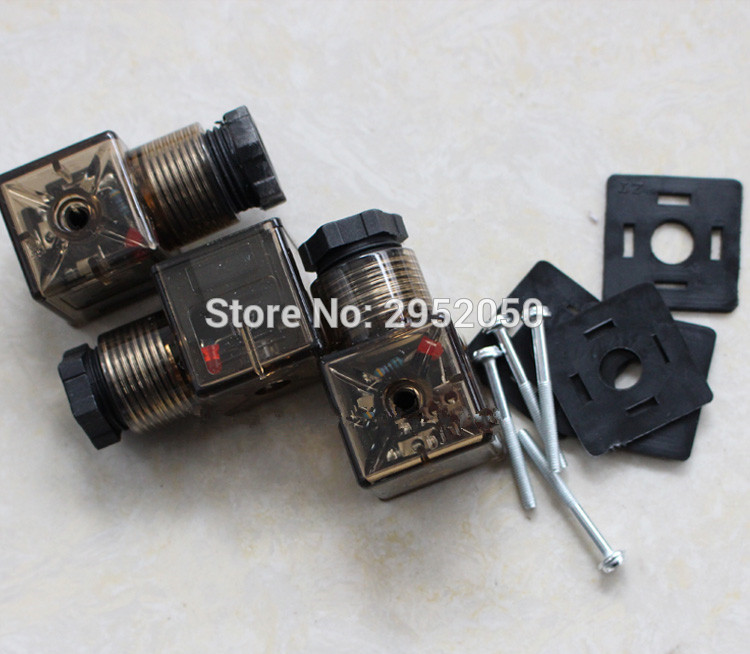 Free Shipping 50PCS DIN Connector Box With Screw And Gasket Solenoids Coil Connector DIN43650A Led Indicator