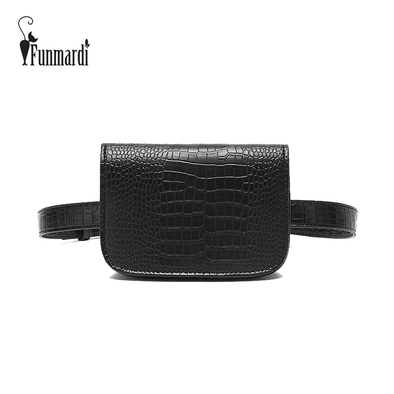 FUNMARDI New Women Waist Pack Classic Fanny Pack PU Leather Waist Bag Famous Brand Bag Belt Crocodile Pattern Women Bag WLHB2800