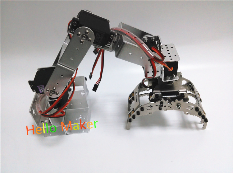 Hello Maker H415 Abb Industrial Robot Mechanical Arm 100% Alloy Six degrees of freedom Robot Arm Rack with 6 Servos six degrees of freedom robotic arm with a rotating three dimensional structure of the full metal base stand