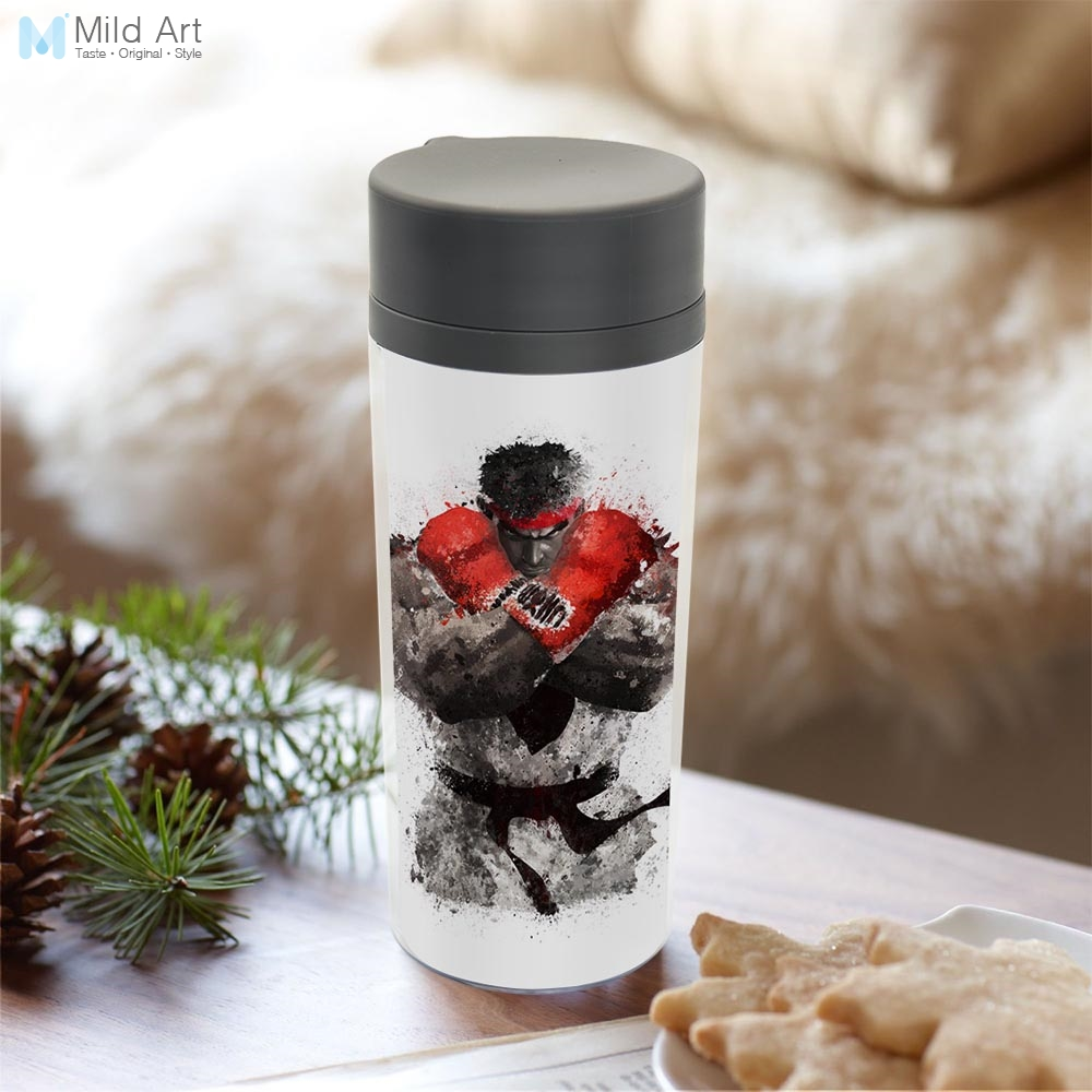 Plastic Insulated Original Watercolor Street Fighter Boxing Boy Kids Water Bottle 300ml Gifts BPA Free With Lid Personalized
