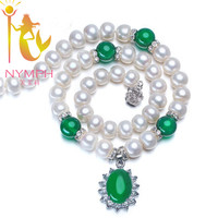 New NYMPH 9 10 Genuine Freshwater Pearl Necklaces Jewelry With Green Agate For Women X1004