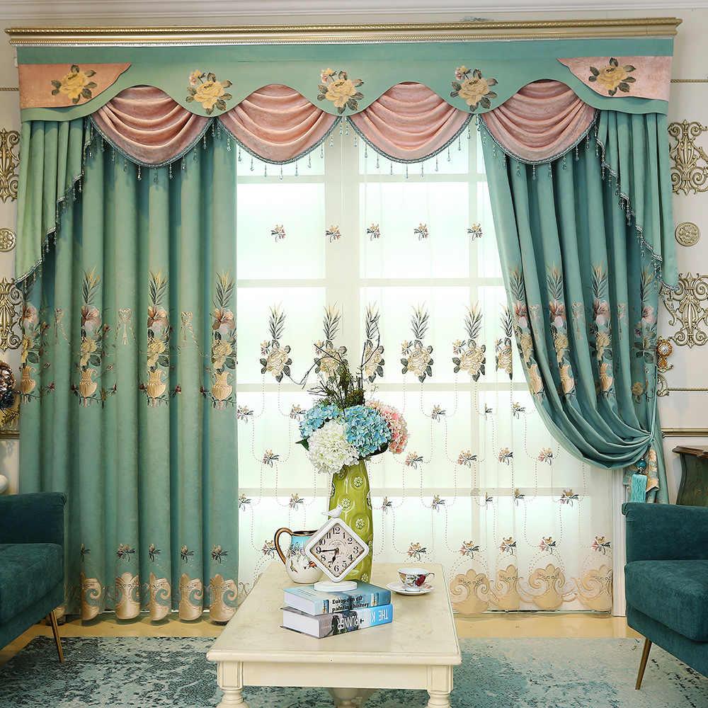 European Chenille Velvet Embroidery Fabric Window Screens Curtains For  Living Room Bedroom Luxury Valance Pelmet Blackout Drapes