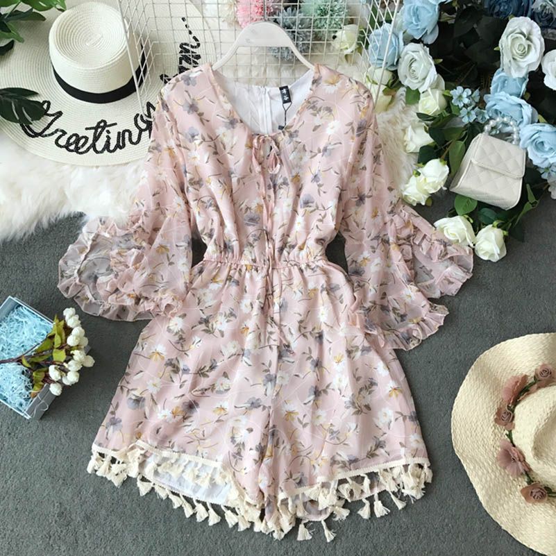 Nicemix Summer Vintage Bohemia Playsuits Women Floral Printed V-Neck High Waist Slim Holiday Beach Wide-Legged Shorts Pants Jump