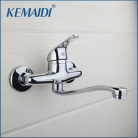 Chrome Finish Brass Bathroom Kitchen Tap Basin Faucet Wall Mounted