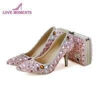 Сладкий розовый кристалл для взрослых туфли для торжественных церемоний с Комплект с сумочкой в тон для девочек День рождения туфли для вып