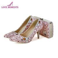 Sweet Pink Crystal Adult Ceremony Shoes with Matching Bag Set Girl Birthday Party Prom Shoes Pointed Toe Lady High Heels