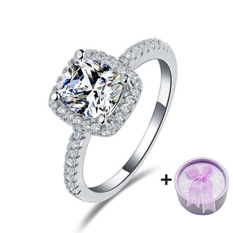 square shape simple elegant engagement rings silver plated finger ring zircon luxury zirconia jewelry with purple - Elegant Wedding Rings