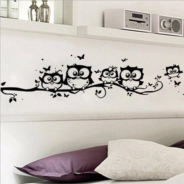 Animales De Dibujos Animados Buho Negro Diy Vinilo Pegatinas De - Dibujos-de-pared