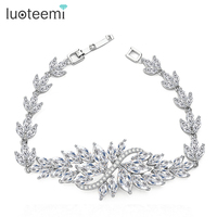 Top Quality Luxury AAA Swiss CZ Wedding Jewelry Clear Flower Bracelet