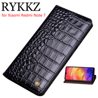 RYKKZ Genuine Leather Flip Case For Xiaomi Redmi Note 7 Cover Magnetic case For Redmi Note 7 5 Cases Leather Cover Phone Cases