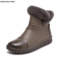 7 Colors Soft Leather Ankle Boots Women Shoes Winter Warm Boots Handmade Furry Snow Boots Winter