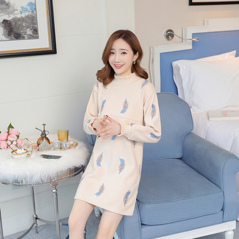Fashion Printed Feather Pregnancy Nursing Dresses Clothes for Pregnant Women Winter Warm Thick Wool Maternity Breastfeeding TopsFashion Printed Feather Pregnancy Nursing Dresses Clothes for Pregnant Women Winter Warm Thick Wool Maternity Breastfeeding Tops