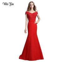 WeiYin 2019 Robe De Soiree Red/Wine Red/Black/Pink Mermaid Lace Long Evening Dress Party Elegant Vestido De Festa Long Prom Gown