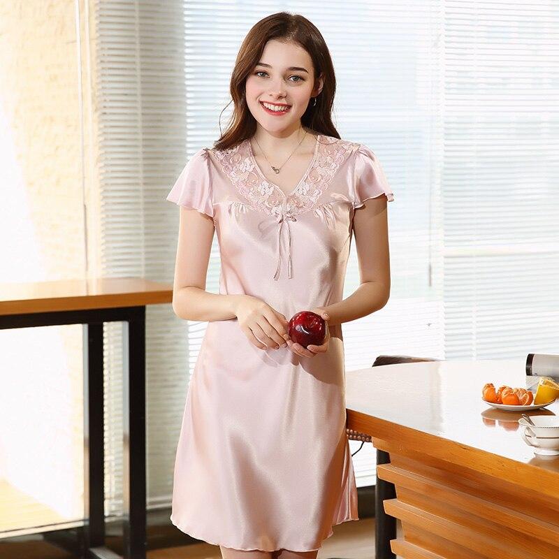 Wasteheart Women Fashion Sexy Pink Lace Mini Nightdress Faux Silk Nightwear   Sleepshirt     Nightgown   Embroidery Sleepwear Night