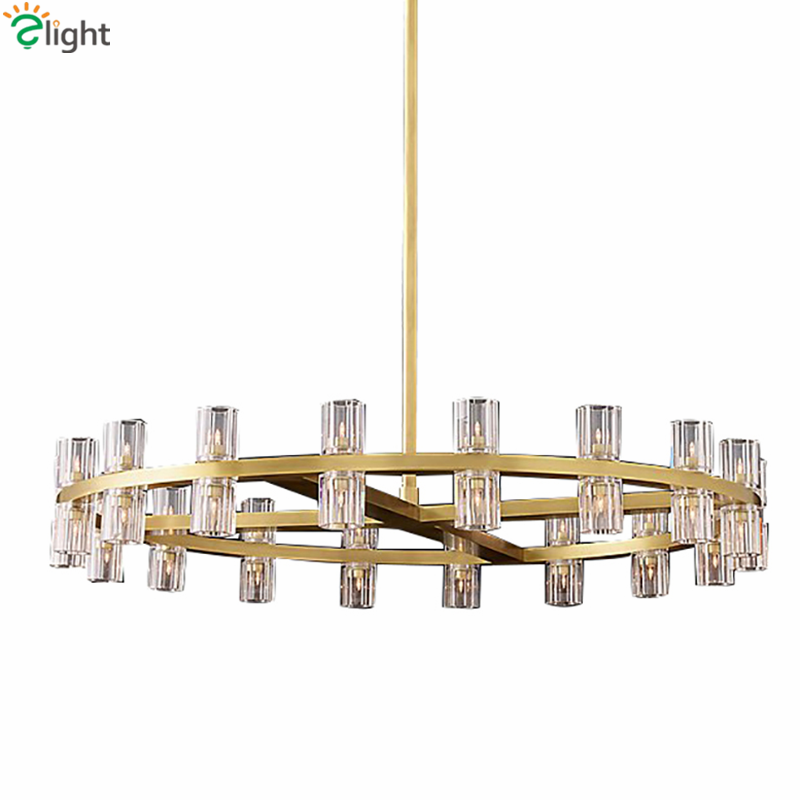 Villa Living Room American RH Led Pendant Lamp Round Lustre K9 Crystal Shade Pendant Light G4 Luminaria Rod Suspend Lamp Fixture private villa living room chair retail