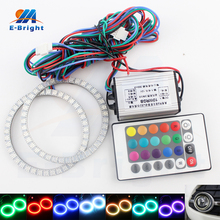цены 1 Pair 120 mm 5050 Type 63 SMD Changeable Colorful RGB LED Car Halo Rings Lights With 24 Key Remote Control LED Angel Car Light