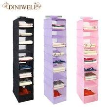 DINIWELL 9 Cell Hanging Box Underwear Sorting Clothing Shoe Jean Storage Mails Door Wall Closet Organizer Closet Organizador Bag