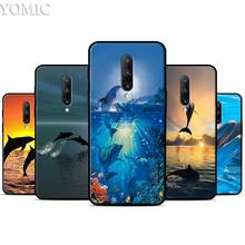 sea animal cute dolphin Silicone Case for Oneplus 7 7Pro 5T 6 6T Black Soft Case for Oneplus 7 7 Pro TPU Phone Cover