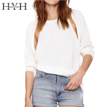 HYH HAOYIHUI 2016 Brand New Autumn Women Sweater Backless Pullover Fashion Sexy Shoulder Hollow Out  Solid White Knite
