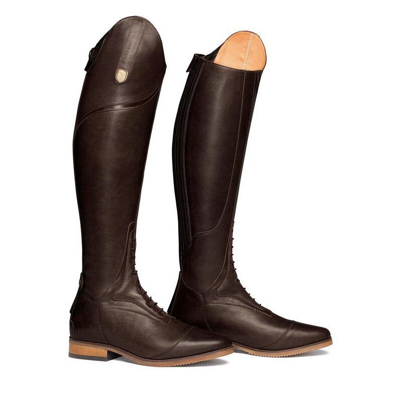 Женские сапоги в жокейском стиле высокие женские Сапоги выше колена на шнуровке, кожаные сапоги до колена размера плюс 40, 41, 42, 43 - Цвет: Dark Brown