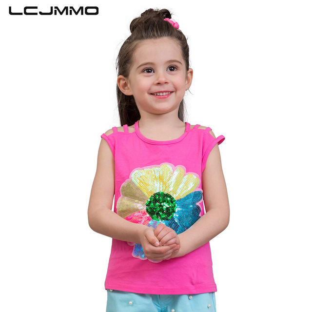 4a4699742d64a US $7.87 40% OFF|LCJMMO Colorful Sequins Girls T shirts Tops Summer Sling  Sleeveless Girl Tops Tees Casual Print Kids Tshirts Children Clothes-in  Tees ...