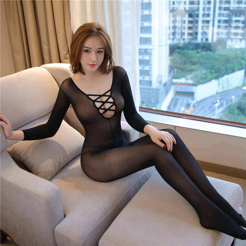 Transparante Pure color Lange mouwen V kraag Cross uitholling bodysuit sexy lingerie bodystocking catsuit open kruis pak
