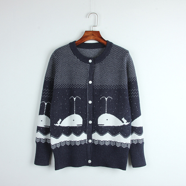 5183707efb0 College style cute whale Jacquard round neck siege wild knitting women simple  navy cardigan knitting top ladies knitwear