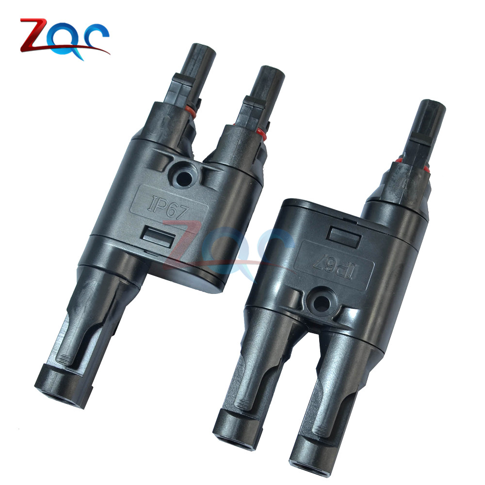 1Pair MC4 Adapter Y Branch T Branch 30A Female Male Connectors for Solar Panel x5 one touch push in branch union y connectors male replace smc kq2u12 02s