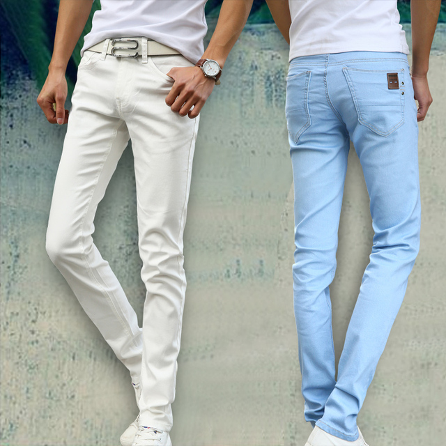 2018 New Fashion Men's Casual Stretch Skinny Jeans Trousers Tight Pants Solid Colors