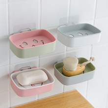 Seamless Smiling Face Suction Wall-Type Drainage Soap Box Nail-Free Double Layer Bathroom Wall-Mounted Rack