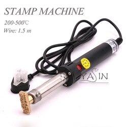 500W soldador eléctrico máquina de estampado en caliente Manual de papel de aluminio prensa de sello máquina de grabado en relieve cuero LOGO marca 220V