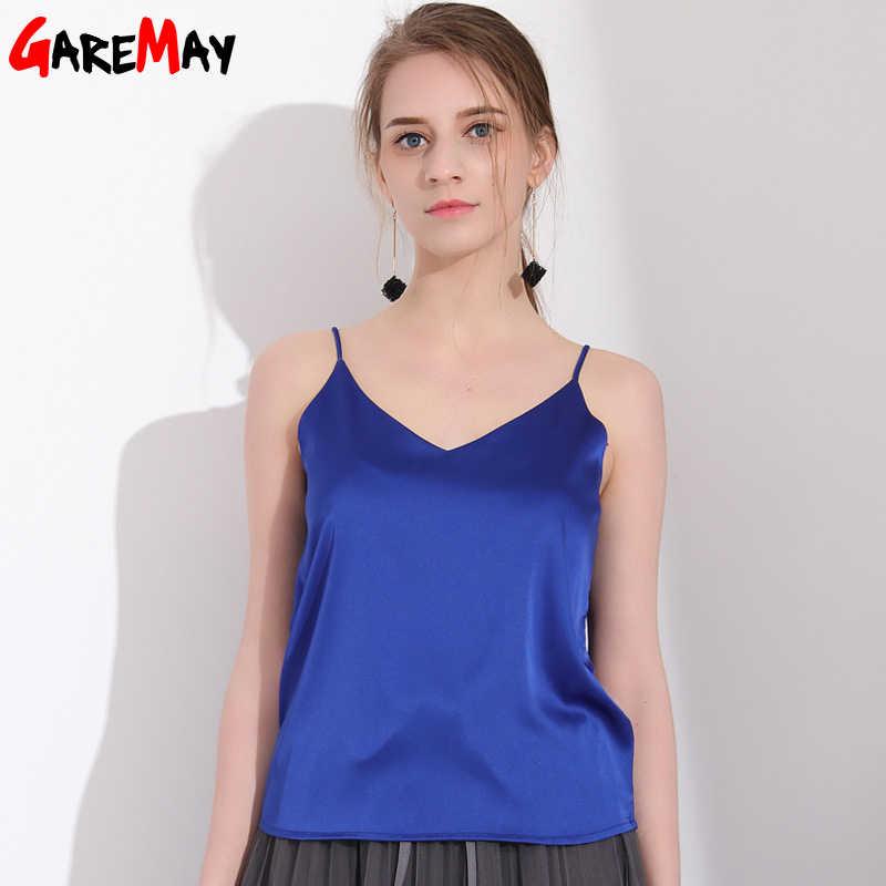 Femmes débardeur Camisole réservoir d'été hauts amples haut à licou sans manches en soie Top femmes élastique Camiseta Tirantes Mujer GAREMAY