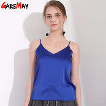 Women Tank Top Camisole Tank Summer Loose Tops Halter Top Sleeveless Silk Top Women Elastic Camiseta Tirantes Mujer GAREMAY(China)