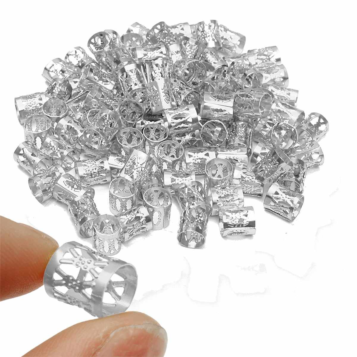 100 шт. 8 мм Серебристые бусины дредлок металлические кольца для волос соединительная трубка Регулируемая оплетка манжеты зажим вязание крючком плетение волос инструмент