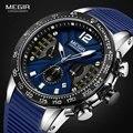 MEGIR, спортивные кварцевые часы с хронографом для мужчин, силиконовый ремешок, водонепроницаемые светящиеся наручные часы, мужские часы, 2106 с...