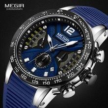 MEGIR Sports Chronograph Quartz Watches for Men Silicone Strap Wateproof Luminous Wristwatch Man Relogios Masculino 2106 Blue
