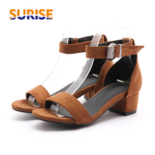 Big Size Flock Block Low Medium Heels Women Sandals Open Toe Casual Party Summer Faux Suede Buckle Ankle Strap Black Lady Shoes