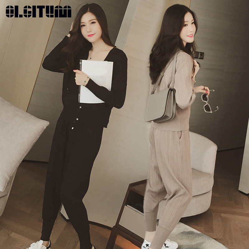 2019 Women Knit Suit Autumn New Korean Fashion Feamle Temperament Thin OL Three-Piece Leisure Sports Suit WS199