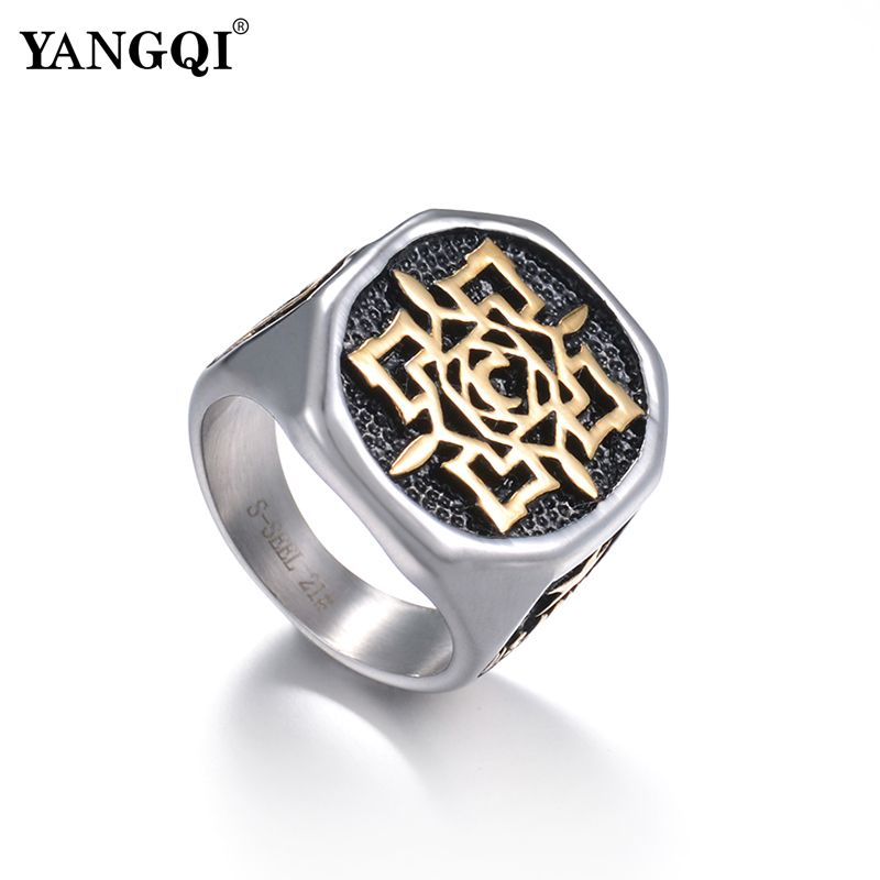 YANGQI Stainless Steel Rose Flower Totem Ring for Men Lucky Punk Biker Jewelry Accessori ...