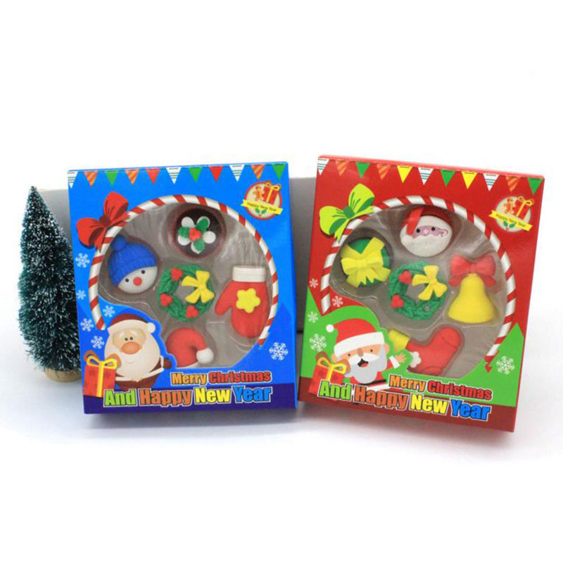 1 Pack Kawaii Korean Christmas Eraser Mini Christmas Erasers New Year Christmas Gifts To Children Students Prize