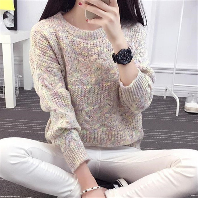 Women Sweater Autumn Winter Korean New Fashion Patchwork Pullover Sweaters  Long Sleeve Casual Loose Female Knitwear 5d54364cb