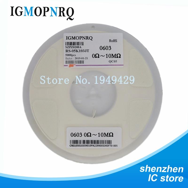 5000 unids 0603 SMD chip de resistencia resistencias 0R-10M 1/10 W 22R 47R 100R 220R 150R 1 K
