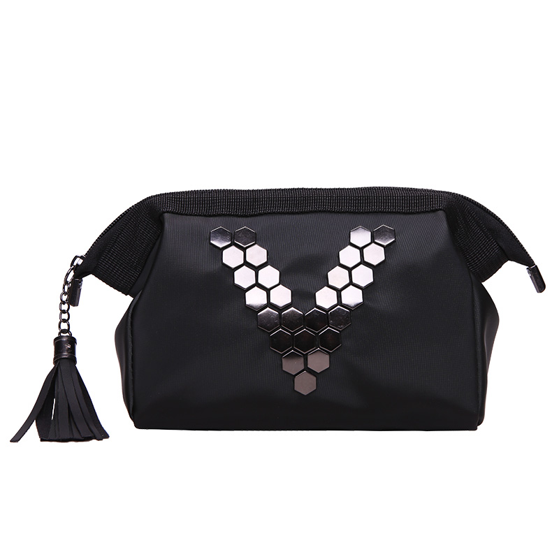 Black Letter V Cosmetic Bag Women Travel Zipper Make Up PU Leather Makeup Case Organizer Storage Pouch Toiletry Beauty Wash