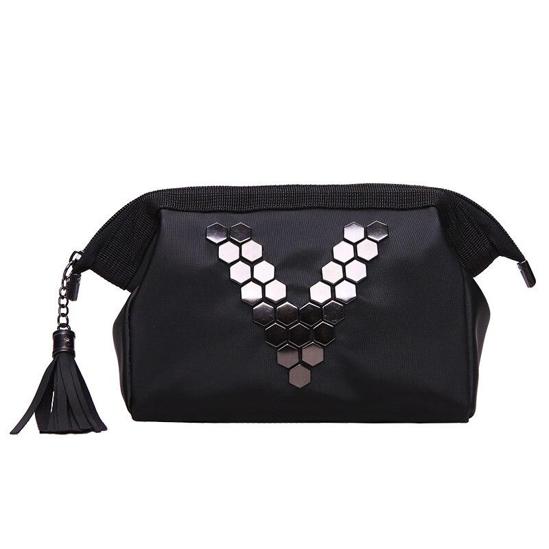 Black Letter V Cosmetic Bag Women Travel Zipper Make Up PU Leather Makeup Case Organizer Storage Pouch Toiletry Beauty Wash Kit цена